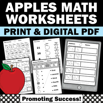 Apples Math Review Activities Kindergarten Special Educati
