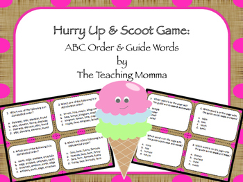 Hurry Up & Scoot Game: ABC Order & Guide Words