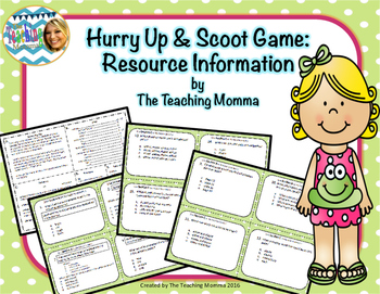 Hurry Up & Scoot Game: Resource Materials