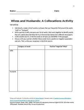 Husbands and Wives: A collocation activity