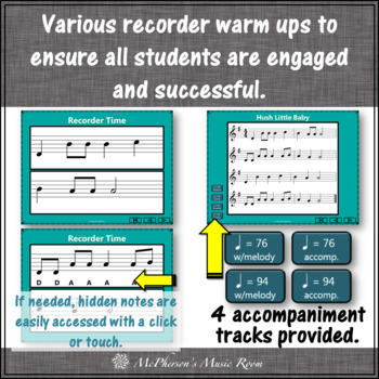 Hush Little Baby - Recorder PowerPoint Visuals (Notes DGABC)