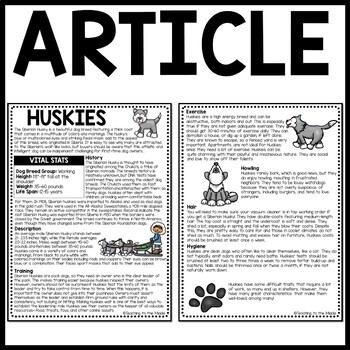 Huskies Informational Text Reading Comprehension Call of the Wild, dogs