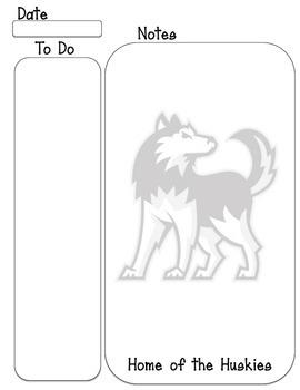 Huskies mascot To do, Note taking sheet