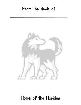 Huskies mascot memo sheet