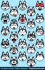 Husky Emoji Clipart Faces / Siberian Husky Dog Emojis Emotions Expressions