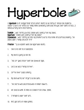 Hyberbole worksheet