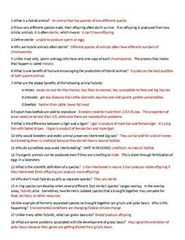 Hybrid Animals Worksheet