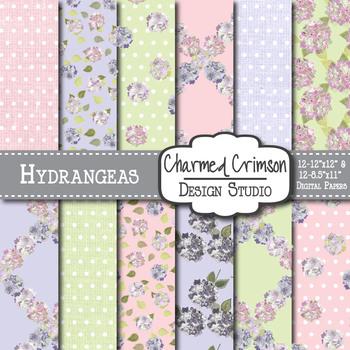 Hydrangea Floral Digital Paper 1466
