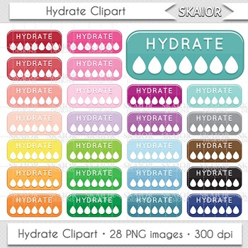 Hydrate Clipart Hydration Clipart Drinking Reminder Water Bottles Scrapbooking