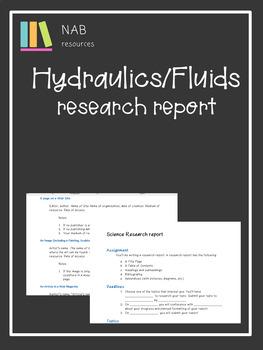 Hydraulics/Fluids research report