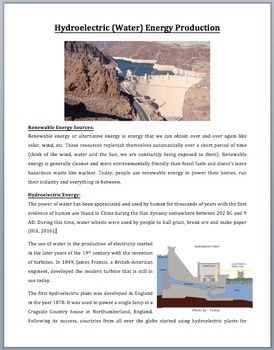 Hydroelectric Energy Production - Renewable Energy - Science Reading Article