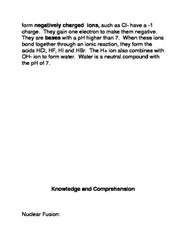 Hydrogen: In a Class By Itself Common Core Reading and Writing Activity