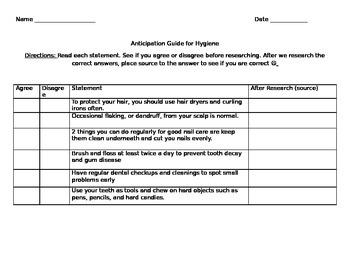Hygiene Anticipation Guide for Unit