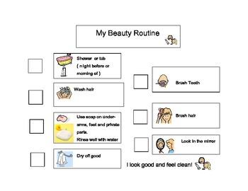 Hygiene Checklist Elementary Middle School Special Ed