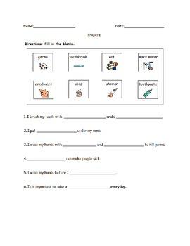 Hygiene Fill-in worksheet