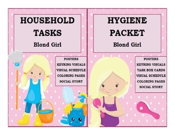 Hygiene & Household Tasks BUNDLE Blond Girl Life Skills Chores Visuals Schedule