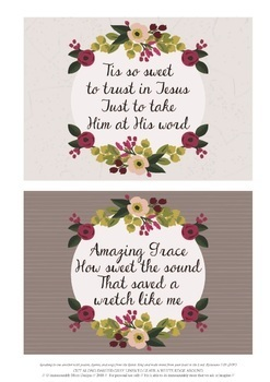 Hymn Card Collectionof 10 Song Cards, Christian Gift or Flash Card
