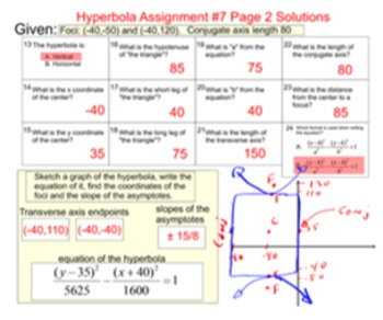 Hyperbola Introduction and 8 Assignments for SMART Notebook