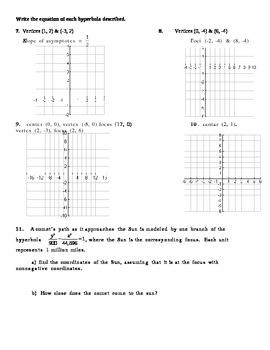 Hyperbola Worksheet