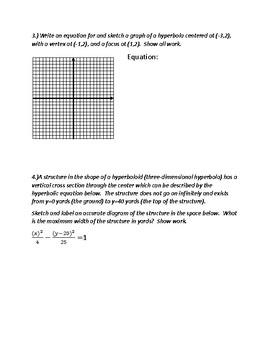 Hyperbolas Worksheet