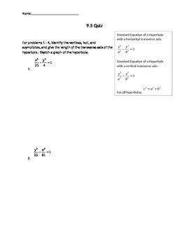 Hyperbolas centered at the origin quiz