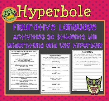 Hyperbole Figurative Language Interactive Notes and Student Writing Activity