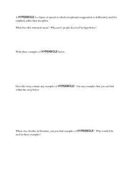 Hyperbole: A worksheet to use with ANY book!