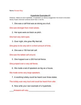 Hyperbole Practice Example Worksheets
