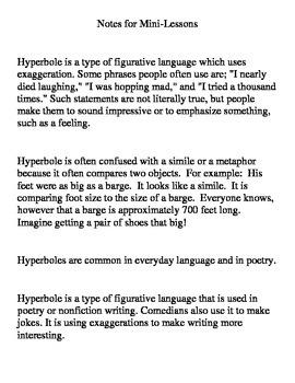 Hyperbole Mini Lesson Ideas