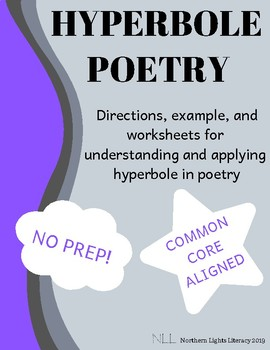 Hyperbole Poetry Worksheet - No Prep, Common Core Aligned