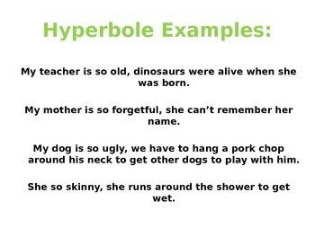 Hyperbole Power Point, Figurative Language, Hyperbole