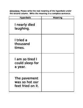 Hyperbole Reinforcement Worksheet