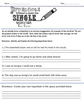 Hyperbole Unit Plan- Fun Reproducible Worksheets