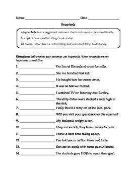 Hyperbole Worksheets