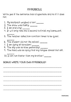 Hyperbole worksheet by Teacher of Muggles | Teachers Pay Teachers
