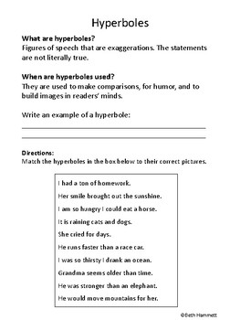 Hyperboles Worksheet
