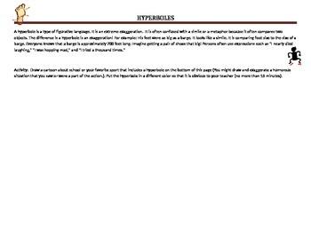 Hyperboles worksheet