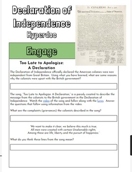 Hyperdoc: Declaration of Independence Webquest
