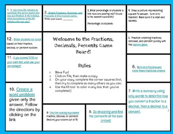 Hyperdoc Game Board: Fractions, Decimals and Percent