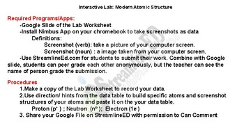 Hyperdoc Interactive Inquiry Lab: Atomic Structure Worksheet PDF FREE