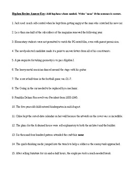 Hyphen Rules, Review Worksheet, and Answer Key