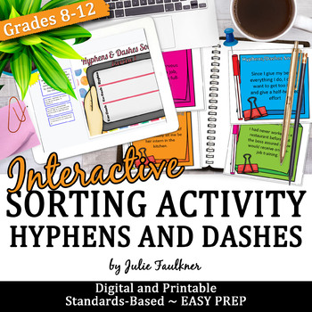 Hyphens and Dashes, Grammar Game, Hands-On, Great for Learning Stations