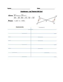 Hypotenuse-Leg Theorem Exit Card