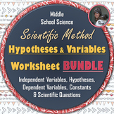 Hypotheses and Variables Worksheets for the Scientific Method Big BUNDLE