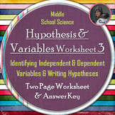 Hypothesis, Independent Variable, and Dependent Variable Worksheet Three