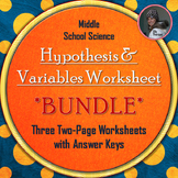 Hypothesis, Independent Variable, and Dependent Variable Worksheet Bundle