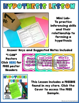 Hypothesis Lesson Interactive Notebook Pages and Mini Lab