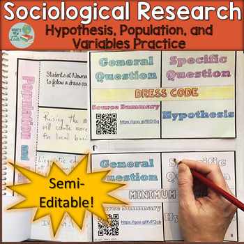 Hypothesis, Population, and Variable Practice Foldable Activities for Sociology