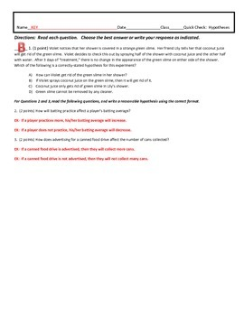 Hypothesis - Quick Check, Formative Assessment