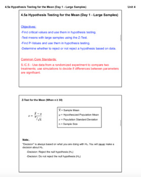 Hypothesis Testing for the Mean (Lesson with Homework)